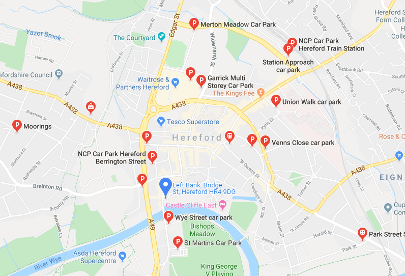 Car parking locations near The Left Bank Village in Hereford